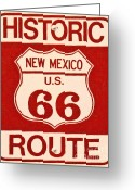 Welcome Signs Greeting Cards - Historic Route 66 New Mexico Greeting Card by Wingsdomain Art and Photography