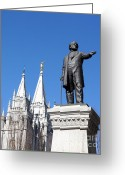 Angel Moroni Greeting Cards - Historic Salt Lake Mormon LDS Temple and Brigham Young Greeting Card by Gary Whitton