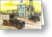 Old Town Hall Drawings Greeting Cards - Historic Shaniko Oregon Greeting Card by Bill Friday