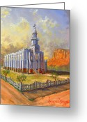 Board Fence Greeting Cards - Historic St. George Temple Greeting Card by Jeff Brimley