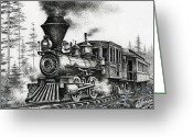 Pen And Ink Drawing Drawings Greeting Cards - Historic Steam Greeting Card by James Williamson