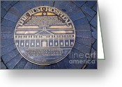 Plaque Greeting Cards - Historic Sydney Hospital - Plaque on Sidewalk Greeting Card by Kaye Menner