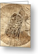 Borgia Photo Greeting Cards - Historical City Map Of Imola, Italy Greeting Card by Sheila Terry