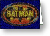 Bat Mixed Media Greeting Cards - History Of Batman Mosaic Greeting Card by Paul Van Scott
