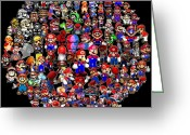 Super Mario Greeting Cards - History of Mario Mosaic Greeting Card by Paul Van Scott