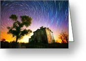 Startrails Greeting Cards - History of the Universe Greeting Card by Evan Ludes