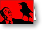 Crow Digital Art Greeting Cards - Hitchcock in Red Greeting Card by Jera Sky