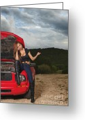 Tramping Greeting Cards - Hitchhiker Greeting Card by Andre Babiak