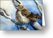 Cal Kimola Greeting Cards - Hitching a Ride Greeting Card by Cal Kimola