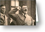 Nazi Greeting Cards - Hitler the Orator Greeting Card by Al Bourassa