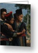 Consoling Greeting Cards - Hmong Girls Cling To Each Other Greeting Card by W.E. Garrett