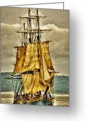 "\""pirate Ship\\\"" Greeting Cards - HMS Bounty Greeting Card by David Patterson"