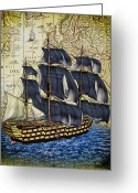 Victory Greeting Cards - HMS Victory Greeting Card by Bob Orsillo