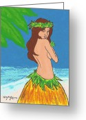Art Pictures Pastels Greeting Cards - Ho opono Hula Girl Greeting Card by William Depaula