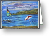 Sailing Cat Greeting Cards - Hobie Cat Greeting Card by Mikki Alhart
