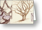 Pen Pastels Greeting Cards - Hobson Oak One Greeting Card by Flo Hayes