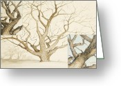 Pen Pastels Greeting Cards - Hobson Oak Two Greeting Card by Flo Hayes