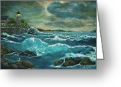 "\\\""storm Prints\\\\\\\"" Mixed Media Greeting Cards - Hobsons Lighthouse Greeting Card by Ave Hurley"