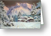 Snow Capped Painting Greeting Cards - Hocheisgruppe Greeting Card by Alwin Arnegger