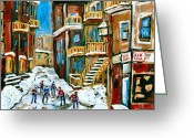 Store Fronts Greeting Cards - Hockey Art In Montreal Greeting Card by Carole Spandau