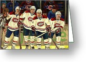 Montreal Hockey Greeting Cards - Hockey Art The Habs Fab Four Greeting Card by Carole Spandau