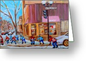 Hockey On The Streets Of Montreal Greeting Cards - Hockey At Beautys Deli Greeting Card by Carole Spandau