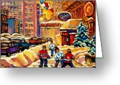 Hockey On The Streets Of Montreal Greeting Cards - Hockey Fever Hits Montreal Bigtime Greeting Card by Carole Spandau