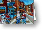 Games Painting Greeting Cards - Hockey Game Corner Clark And Fairmount Wilenskys Paintings Greeting Card by Carole Spandau