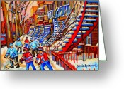 Hockey Street Scenes In Montreal Greeting Cards - Hockey Game Near The Red Staircase Greeting Card by Carole Spandau