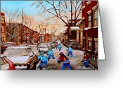 Pond Hockey Painting Greeting Cards - Hockey Gameon Jeanne Mance Street Montreal Greeting Card by Carole Spandau