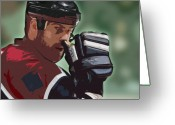 Hockey Mixed Media Greeting Cards - Hockey Illustration Greeting Card by Lucas Armstrong