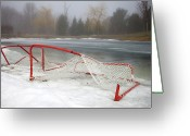 Hockey Greeting Cards - Hockey Net On Frozen Pond Greeting Card by Perry McKenna Photography