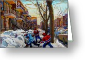Montreal Cityscenes Greeting Cards - Hockey On De Bullion  Greeting Card by Carole Spandau