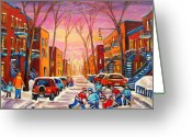 Montreal Cityscenes Greeting Cards - Hockey On Hotel De Ville Street Greeting Card by Carole Spandau
