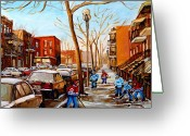 Pond Hockey Painting Greeting Cards - Hockey On St Urbain Street Greeting Card by Carole Spandau