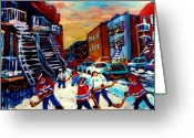 Hockey Street Scenes In Montreal Greeting Cards - Hockey Paintings Of Montreal St Urbain Street City Scenes Greeting Card by Carole Spandau