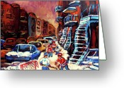 Hockey Street Scenes In Montreal Greeting Cards - Hockey Paintings Of Montreal St Urbain Street Winterscene Greeting Card by Carole Spandau