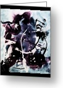Purples Mixed Media Greeting Cards - Hockey Player  Greeting Card by Marsha Heiken