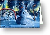 Hockey Mixed Media Greeting Cards - Hockey Greeting Card by Ray Swaluk