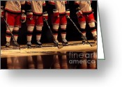 Ice Skating Greeting Cards - Hockey Reflection Greeting Card by Karol  Livote
