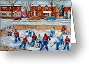 Hockey Street Scenes In Montreal Greeting Cards - Hockey Rink At Van Horne Montreal Greeting Card by Carole Spandau