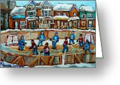 Hockey Stars Greeting Cards - Hockey Rink Montreal Street Scene Greeting Card by Carole Spandau
