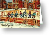 Kids At Play Greeting Cards - Hockey Rinks In Montreal Greeting Card by Carole Spandau