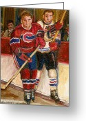 Hockey On The Streets Of Montreal Greeting Cards - Hockey Stars At The Forum Greeting Card by Carole Spandau