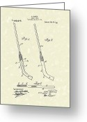 Sports Art Greeting Cards - Hockey Stick McNiece 1916 Patent Art Greeting Card by Prior Art Design