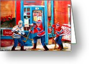 Hockey On The Streets Of Montreal Greeting Cards - Hockey Sticks In Action Greeting Card by Carole Spandau