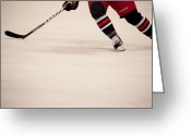 Hockey Action Greeting Cards - Hockey Stride Greeting Card by Karol  Livote