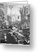Intoxicated Greeting Cards - Hogarth: Gin Lane Greeting Card by Granger