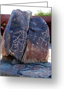 Rock Drawings Greeting Cards - Hohokam Petroglyphs Greeting Card by Mary Deal