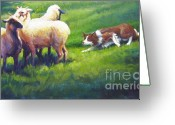 Sheepdog Greeting Cards - Holdem Sadie Greeting Card by Pat Burns